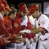 Photo -   St. Louis Cardinals' Jaime Garcia is congratulated by teammates after hitting a solo home run during the third inning of a baseball game against the Cincinnati Reds, Monday, Oct. 1, 2012, in St. Louis. (AP Photo/Jeff Roberson)