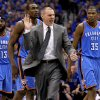 Dallas coach Rick Carlisle walks towards an official in front of Oklahoma City\'s James Harden (13), Serge Ibaka (9), and Kevin Durant (35) during game 1 of the Western Conference Finals in the NBA basketball playoffs between the Dallas Mavericks and the Oklahoma City Thunder at American Airlines Center in Dallas, Tuesday, May 17, 2011. Photo by Bryan Terry, The Oklahoman