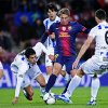 FC Barcelona\'s Deulofeu, second right, duels for the ball against Alaves\'s Agustin, right, during a Copa del Rey soccer match at the Camp Nou stadium in Barcelona, Spain, Wednesday, Nov 28, 2012. (AP Photo/Manu Fernandez)