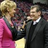 Photo - Baylor head coach Kim Mulkey, left, and Connecticut head coach Geno Auriemma, greet one another before an NCAA college basketball game between the two teams in Hartford, Conn., Monday, Feb. 18, 2013. (AP Photo/Jessica Hill)