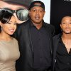 This June 25, 2012 photo released by Starpix shows rapper-turned actor Romeo, right, his sister Cymphonique Miller, left, and their father hip hop artist Master P., at the premiere of Romeo\'s film,