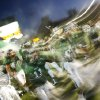 Edmond Santa Fe players take the field after running through an inflatable football helmet before the high school football game between Edmond Santa Fe and Putnam City West at Wantland Stadium in Edmond, Okla. on Friday, Oct. 5, 2007. By James Plumlee, The Oklahoman.