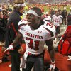 Texas Tech\'s Eugene Neboh (31) leaves the field after the game between the University of Oklahoma Sooners (OU) and Texas Tech University Red Raiders (TTU) at the Gaylord Family-Memorial Stadium on Sunday, Oct. 23, 2011. in Norman, Okla. Tech won 41-38. Photo by Steve Sisney, The Oklahoman