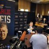 Kanas football coach Charlie Weis conducts interviews during a breakout session at the Big 12 Conference Football Media Days Monday, July 22, 2013 in Dallas. (AP Photo/Tim Sharp)