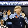 """Photo - FILE - In this Jan. 5, 2014 file photo, North Carolina head coach Sylvia Hatchell addresses the crowd at halftime of an NCAA women's college basketball game against Maryland, in Chapel Hill, N.C. Hatchell says she could return to coaching while battling leukemia if the Tar Heels reach the Final Four. Fourth-seeded UNC  faces No. 1 seed South Carolina in California at this weekend's Stanford Regional. If her team advances, Hatchell said Thursday, March 27, 2014, her doctor has told her that being on the sideline in Nashville, Tenn., is """"very doable."""" (AP Photo/Ellen Ozier, File)"""
