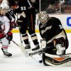 Photo - Anaheim Ducks goalie Frederik Andersen (31), of Denmark, blocks a shot from Columbus Blue Jackets left wing Matt Calvert (11) during the first period of an NHL hockey game, Monday, Feb. 3, 2014, in Anaheim, Calif. (AP Photo/Gus Ruelas)