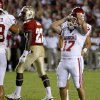 Oklahoma\'s Jimmy Stevens (17) reacts after making a field goal in the fourth quarter of a college football game between the University of Oklahoma (OU) and Florida State (FSU) at Doak Campbell Stadium in Tallahassee, Fla., Saturday, Sept. 17, 2011. Photo by Bryan Terry, The Oklahoman