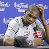 NBA BASKETBALL: Oklahoma City\'s Kevin Durant listens to a question during a press conference for Game 5 of the NBA Finals between the Oklahoma City Thunder and the Miami Heat at American Airlines Arena, Wednesday, June 20, 2012. Photo by Bryan Terry, The Oklahoman