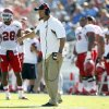 Utah head coach Kyle Whittingham, from the sidelines, talks to officials as his team plays against UCLA during the second half of their NCAA college football game, Saturday, Oct. 13, 2012, in Pasadena, Calif. UCLA won 21-14. (AP Photo/Alex Gallardo)