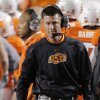 OSU coach Mike Gundy walks the sideline during the Bedlam college football game between the University of Oklahoma Sooners (OU) and the Oklahoma State University Cowboys (OSU) at Boone Pickens Stadium in Stillwater, Okla., Saturday, Nov. 27, 2010. Photo by Chris Landsberger, The Oklahoman