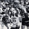Former OU basketball player Wayman Tisdale. Wayman Tisdale battles Jeff Zern of Dayton for a loose ball in Saturday\'s 89-85 NCAA Tournament loss to the Flyers. 3-18-84 ORG XMIT: KOD
