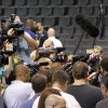 Miami\'s Chris Bosh talks to the media during the NBA Finals practice day at the Chesapeake Energy Arena on Monday, June 11, 2012, in Oklahoma City, Okla. Photo by Chris Landsberger, The Oklahoman