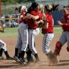 Carl Albert celebrates their win over McAlester during the Class 5A fast-pitch softball championship game at ASA Hall of Fame Stadium, Saturday, Oct. 16, 2010, in Oklahoma City. Photo by Sarah Phipps, The Oklahoman