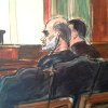 Photo - EDS NOTE: TIGHTER CROP. In this courtroom drawing, Osama bin Laden's son-in-law, Sulaiman Abu Ghaith, center, listens to a tranlator, as his federal defender,  left, speaks in U.S. federal court  Friday, March 8, 2013, in New York. Through his lawyer, Abu Ghaith pleaded not guilty to conspiracy to kill Americans in his role as al-Qaida's top spokesman. The case marks a legal victory for the Obama administration, which has long sought to charge senior al-Qaida suspects in U.S. federal courts instead of holding them at the military detention center at Guantanamo Bay, Cuba. (AP Photo/Elizabeth Williams)