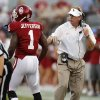 Mike Stoops talks with Oklahoma\'s Tony Jefferson (1) during the college football game between the University of Oklahoma Sooners (OU) and the Kansas State University Wildcats (KSU) at the Gaylord Family-Memorial Stadium on Saturday, Sept. 22, 2012, in Norman, Okla. Photo by Chris Landsberger, The Oklahoman