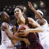 Notre Dame guard Lindsay Allen, left, Arizona State center Joy Burke, center, and Notre Dame forward Ariel Braker, right, go after the rebound during the first half in a second-round game in the NCAA women\'s college basketball tournament in Toledo, Ohio, Monday, March 24, 2014. (AP Photo/Rick Osentoski)