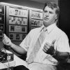 Talking with the media Nov. 22, 1978: Oklahoma State University (OSU) football coach Jim Stanley