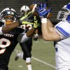 Sapulpa\'s Mondier intercepts a pass intended for Putnam City\'s Drey Christion during their high school football game at Putnam City in Oklahoma City, Thursday, Sept. 26, 2013. Photo by Bryan Terry, The Oklahoman