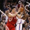 Yao Ming is called or a charge as he shoots guarded by Joe Smith in the second half as the Oklahoma City Thunder plays the Houston Rockets at the Ford Center in Oklahoma City, Okla. on Friday, January 9, 2009. Photo by Steve Sisney/The Oklahoman