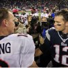 Denver Broncos quarterback Peyton Manning, left, and New England Patriots quarterback Tom Brady, right, meet after the Patriots\' 31-21 win in their NFL football game, Sunday, Oct. 7, 2012, in Foxborough, Mass. (AP Photo/Steven Senne)