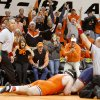 The crowd reacts as Oklahoma State\'s Austin Marsden scores a point against Patrick Walker of Illinios in the 285-pound match of the NWCA National Duals semifinals wrestling at Gallagher-Iba Arena in Stillwater, Okla., Sunday, Feb. 19, 2012. The point gave the win to Marsden and gave Oklahoma State a 19-15 over Illionios. Photo by Bryan Terry, The Oklahoman
