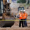 Photo - Fatal industrial accident  at the construction site near the old Interstate 40, behind the Harkins Theater in Bricktown, Thursday afternoon, Aug. 23,  2012.  Company investigators at the site; the accident involves this piece of equipment  Photo by Jim Beckel, The Oklahoman.