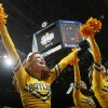 The Baylor pom squad performs in the Championship game of the Big 12 Men\'s Basketball Championships between Baylor University and The University of Missouri at the Ford Center on Saturday, March 14, 2009, in Oklahoma City, Okla. PHOTO BY CHRIS LANDSBERGER, THE OKLAHOMAN