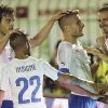 Photo - Italy forward Ciro Immobile, third from left, celebrates with his teammates after scoring during a World Cup warm up soccer match between Italy and Fluminense at the Cidadania stadium, in Volta Redonda, Brazil, Sunday, June 8, 2014. Italy plays in group D of the 2014 soccer World Cup. (AP Photo/Antonio Calanni)
