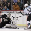 Photo -   Dallas Stars goalie Kari Lehtonen (32), of Finland, defends against a shot as San Jose Sharks' Patrick Marleau (12) pressures in the first period of an NHL hockey game on Thursday, March 8, 2012, in Dallas. (AP Photo/Tony Gutierrez)