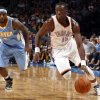 Oklahoma City\'s Reggie Jackson (15) drives to the basket past Denver\'s Ty Lawson (3) during the NBA preseason basketball game between the Oklahoma City Thunder and the Denver Nuggets at the Chesapeake Energy Arena, Sunday, Oct. 21, 2012. Photo by Sarah Phipps, The Oklahoman