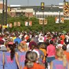 Runners fill Hall of Fame road during the Remember the Ten run held in Stillwater, Okla., on April 21, 2012. Photo by Mitchell Alcala, for The Oklahoman