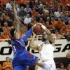 Kansas\' Ben McLemore (23) defends Oklahoma State \'s Brian Williams (4) during the college basketball game between the Oklahoma State University Cowboys (OSU) and the University of Kanas Jayhawks (KU) at Gallagher-Iba Arena on Wednesday, Feb. 20, 2013, in Stillwater, Okla. Photo by Chris Landsberger, The Oklahoman