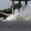 Mike Robbins streaks down the course during the Oklahoma City Nationals Drag Boat races on the Oklahoma River Saturday, June 9th, 2012. PHOTO BY HUGH SCOTT, FOR THE OKLAHOMAN ORG XMIT: KOD