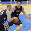 Oklahoma City\'s Nick Collison and Cole Aldrich go through drills during the NBA Finals practice day at the Chesapeake Energy Arena on Monday, June 11, 2012, in Oklahoma City, Okla. Photo by Chris Landsberger, The Oklahoman