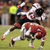 Texas Tech\'s D.J. Johnson (12) strips the ball from Oklahoma\'s Ryan Broyles (85) after a long pass play during the first half of the college football game between the University of Oklahoma Sooners (OU) and Texas Tech University Red Raiders (TTU) at the Gaylord Family-Memorial Stadium on Saturday, Oct. 22, 2011. in Norman, Okla. Photo by Steve Sisney, The Oklahoman