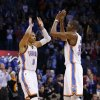 Oklahoma City\'s Russell Westbrook (0) and Kevin Durant (35) react during an NBA basketball game between the Oklahoma City Thunder and the Dallas Mavericks at Chesapeake Energy Arena in Oklahoma City, Thursday, Dec. 27, 2012. Oklahoma City won 111-105. Photo by Bryan Terry, The Oklahoman