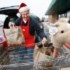Volunteer Frank Friedhoff removes toys and clothing items from a shopping cart as he and another volunteer load the gifts into the back of Leticia Walker\'s van at the Christmas Connection, SW 59th and May Avenue, Tuesday, Dec. 6, 2011. Friedhoff is a board member for the charity and has been volunteering for the organization for seven years. Walker came to the Christmas Connection to select gifts for her three daughters and son. Walker said it was her first time to visit the Christmas Connection. She waited more than an hour to shop, but said it was