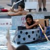 Cara Hutchings, Longview, Texas sophomore paddles her team\'s boat in the cardboard regatta as part of the University of Oklahoma\'s (OU) Engineering Camp on Friday, June 13, 2014 in Norman, Okla. Photo by Steve Sisney, The Oklahoman
