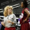 OU coach Sherri Coale talks with Nyeshia Stevenson during practice in Kansas City, Mo., on Saturday, March 27, 2010. The University of Oklahoma will play Notre Dame in the Sweet 16 round of the NCAA women\'s basketball tournament on Sunday. Photo by Bryan Terry, The Oklahoman