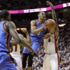 Oklahoma City\'s Russell Westbrook (0) leaps past Miami\'s LeBron James (6) during Game 3 of the NBA Finals between the Oklahoma City Thunder and the Miami Heat at American Airlines Arena, Sunday, June 17, 2012. Photo by Bryan Terry, The Oklahoman