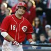 Photo -   Cincinnati Reds' Joey Votto grimaces after striking out in the fourth inning of Game 4 of the National League division baseball series against the San Francisco Giants, Wednesday, Oct. 10, 2012, in Cincinnati. (AP Photo/David Kohl)