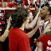 Oklahoma\'s Romero Osby (24) celebrates with fans after the Bedlam men\'s college basketball game between the University of Oklahoma Sooners and the Oklahoma State Cowboys in Norman, Okla., Wednesday, Feb. 22, 2012. Oklahoma won 77-64. Photo by Bryan Terry, The Oklahoman