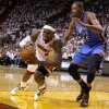 Miami\'s LeBron James (6) falls down in front of Oklahoma City\'s Kevin Durant (35) during Game 4 of the NBA Finals between the Oklahoma City Thunder and the Miami Heat at American Airlines Arena, Tuesday, June 19, 2012. Oklahoma City lost 104-98. Photo by Bryan Terry, The Oklahoman