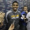 Photo -   With their season ended, Cleveland Cavaliers Kyrie irving talks to the media at the team's practice facility in Independence, Ohio, on Friday, April 27, 2012. (AP Photo/Amy Sancetta)
