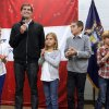 Photo -   Matt Romney, second from left, with his children, from left, Chloe, 11, Mia, 8, and Nick, 11, and Josh Romney, right, with his son Wyatt, 7, on Monday, Nov. 5, 2012 campaign at the Kent County Republican Party Headquarters imn Grand Rapids, Mich. Grand Rapids was the first of several Michigan stops for the two brothers. (AP Photo/The Grand Rapids Press, Emily Zoldaz ) ALL LOCAL TV OUT; LOCAL TV INTERNET OUT