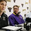 Photo - Minnesota State, Mankato defensive back Sam Thompson, left, reads a statement during a news conference as, from second from left, coach Todd Hoffener, associate coach Aaron Keen and athletic director Kevin Buisman listen Thursday, April 17, 2014, in Mankato, Minn. (AP Photo/Star Tribune, Jerry Holt) ST. PAUL OUT  MINNEAPOLIS-AREA TV OUT  MAGS OUT