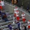 Photo - Oklahoma State special teams walks on to the field for warmups during the college football game between Kansas State University (KSU) and Oklahoma State (OSU) at  Bill Snyder Family Football Stadium in Manhattan, Kan.,  Saturday, Nov. 3, 2012. Photo by Sarah Phipps, The Oklahoman