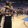 Oklahoma City\'s Kevin Durant hugs San Antonio\'s Manu Ginobili after the 107-99 win over the Spurs during Game 6 of the Western Conference Finals between the Oklahoma City Thunder and the San Antonio Spurs in the NBA playoffs at the Chesapeake Energy Arena in Oklahoma City, Wednesday, June 6, 2012. Photo by Chris Landsberger, The Oklahoman