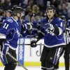 Photo - Tampa Bay Lightning defenseman Mark Barberio (8) celebrates with teammate Tom Pyatt (11) after scoring against the Boston Bruins during the second period of an NHL hockey game on Saturday, March 8, 2014, in Tampa, Fla. (AP Photo/Chris O'Meara)