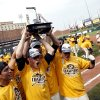 Missouri celebrates their 12 baseball championship at the Chickasaw Bricktown Ballpark in Oklahoma City, Sunday, May 27, 2012. Photo by Sarah Phipps, The Oklahoman.
